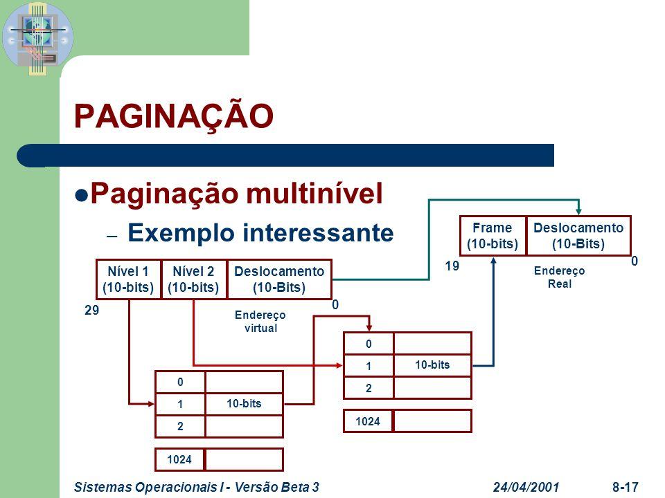 PAGINAÇÃO Paginação multinível Exemplo interessante Frame (10-bits)