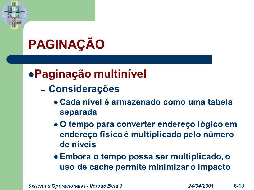 PAGINAÇÃO Paginação multinível Considerações