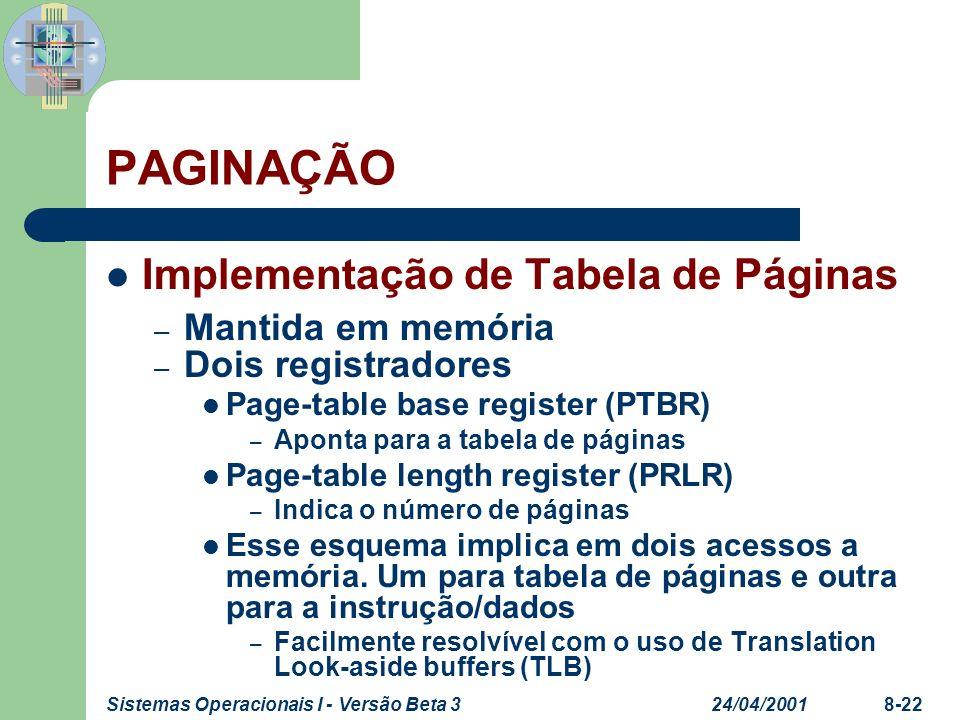 PAGINAÇÃO Implementação de Tabela de Páginas Mantida em memória