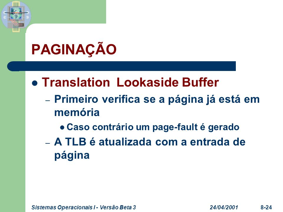 PAGINAÇÃO Translation Lookaside Buffer