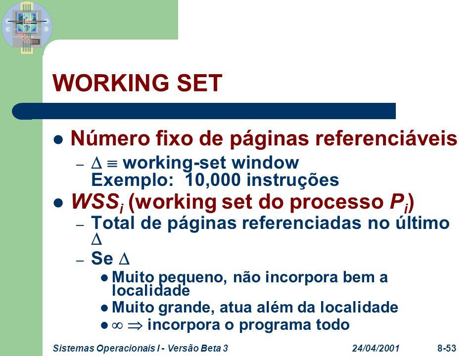 WORKING SET Número fixo de páginas referenciáveis