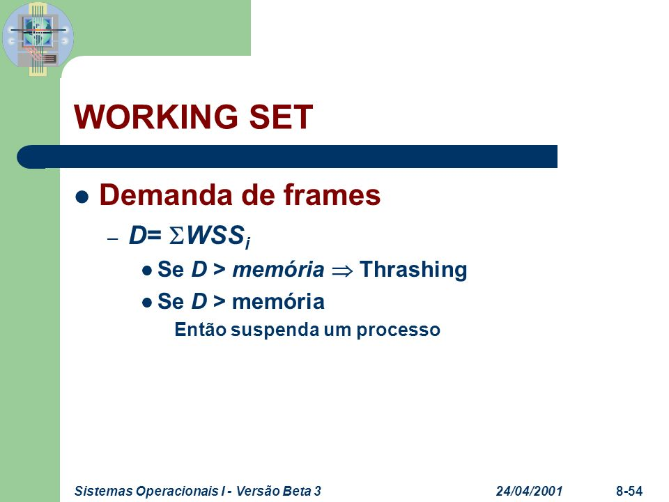 WORKING SET Demanda de frames D= WSSi Se D > memória  Thrashing