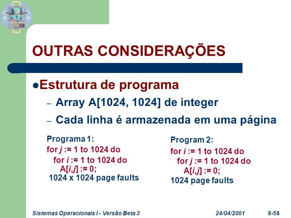OUTRAS CONSIDERAÇÕES Estrutura de programa