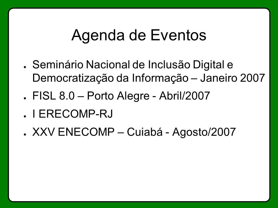 Agenda de Eventos Seminário Nacional de Inclusão Digital e Democratização da Informação – Janeiro 2007.