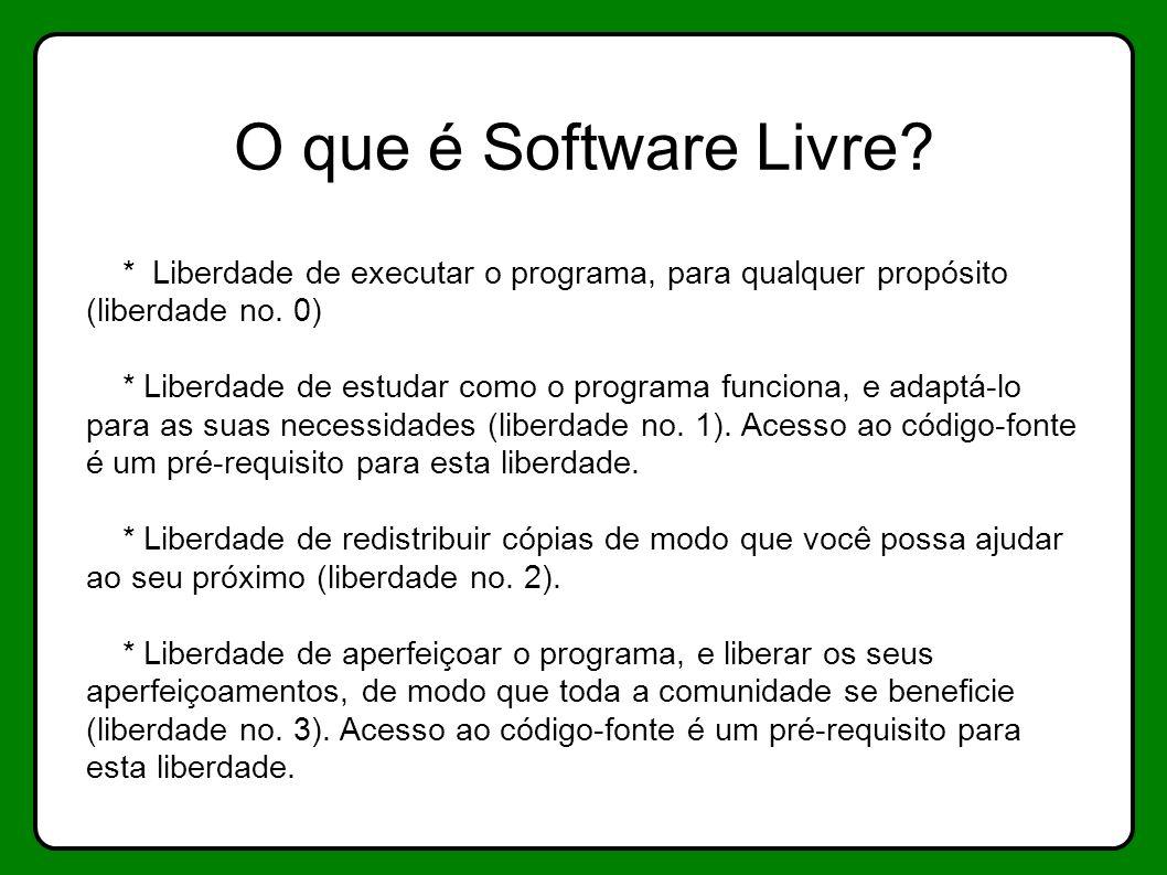 O que é Software Livre * Liberdade de executar o programa, para qualquer propósito (liberdade no. 0)