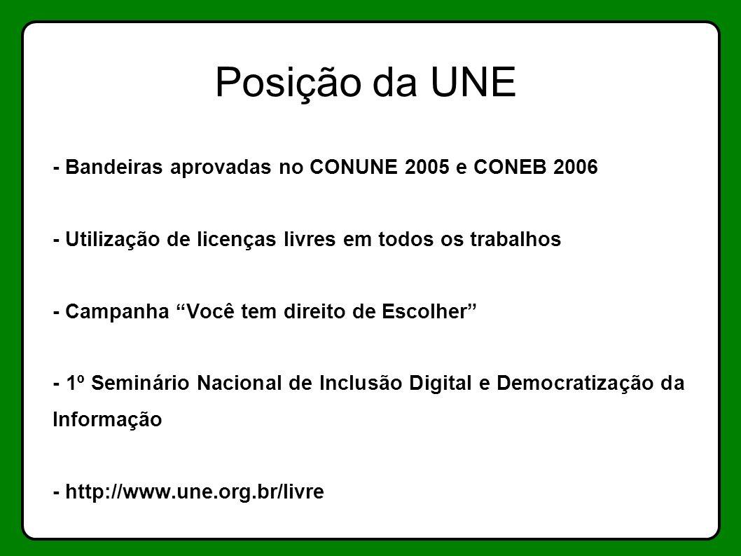 Posição da UNE - Bandeiras aprovadas no CONUNE 2005 e CONEB 2006