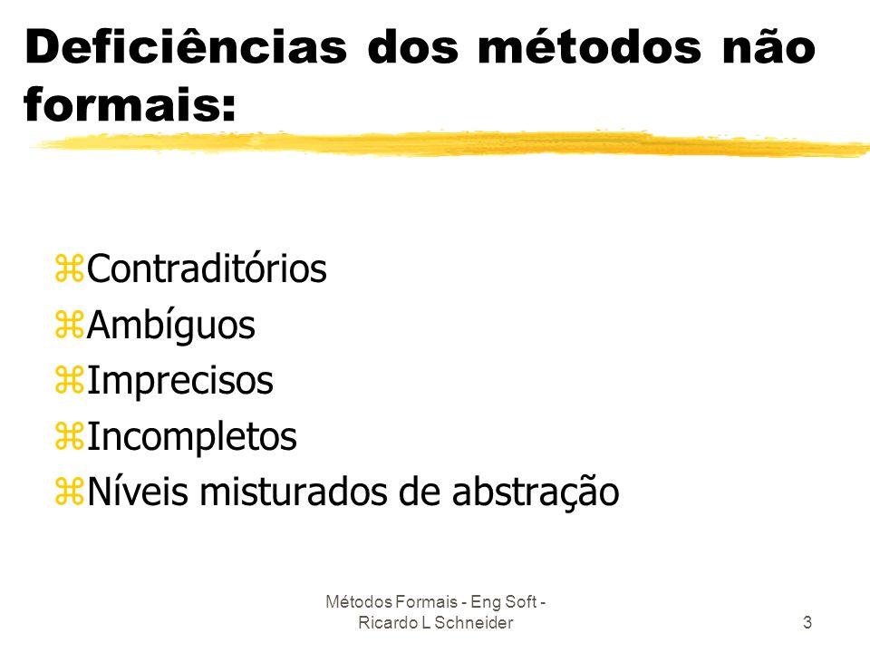 Deficiências dos métodos não formais: