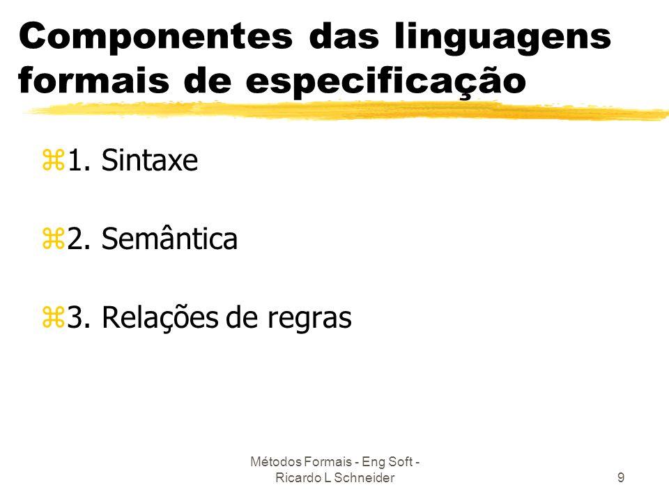 Componentes das linguagens formais de especificação