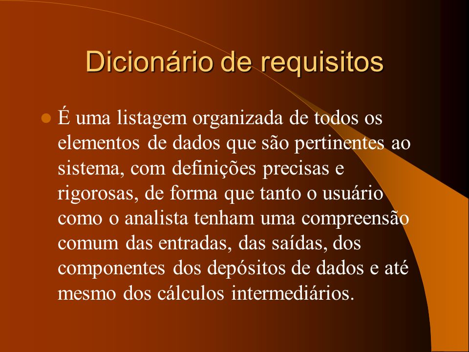 Dicionário de requisitos
