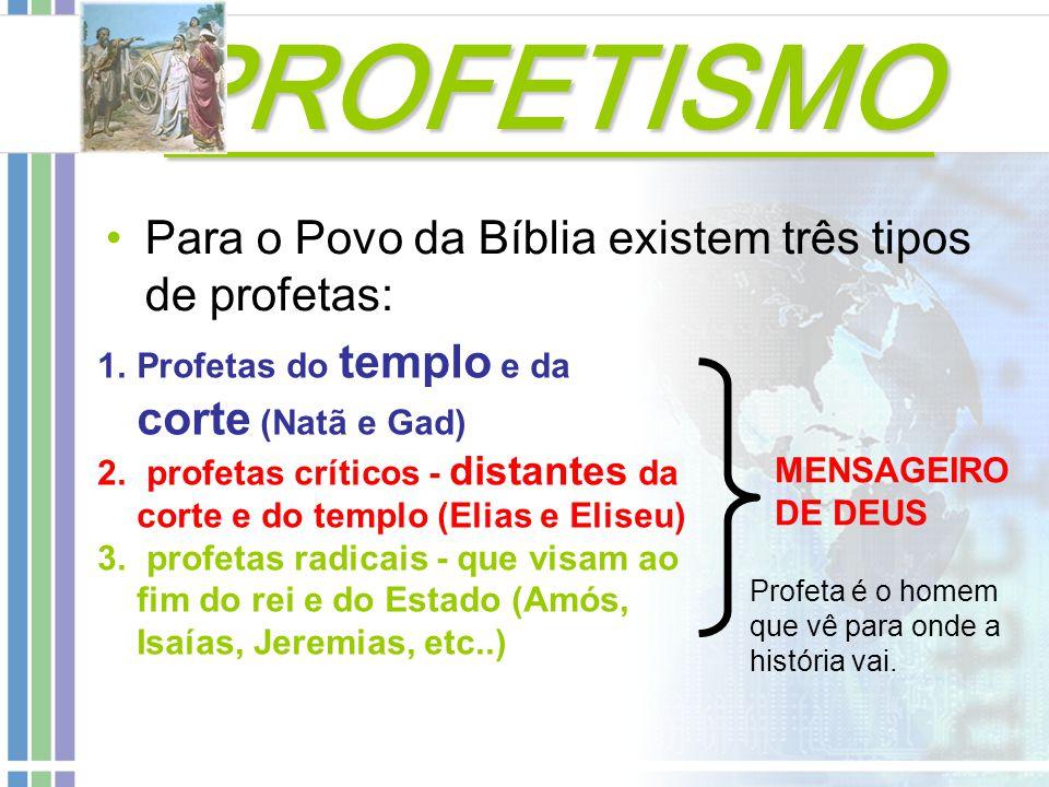 PROFETISMO Para o Povo da Bíblia existem três tipos de profetas: