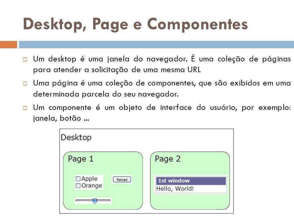 Desktop, Page e Componentes