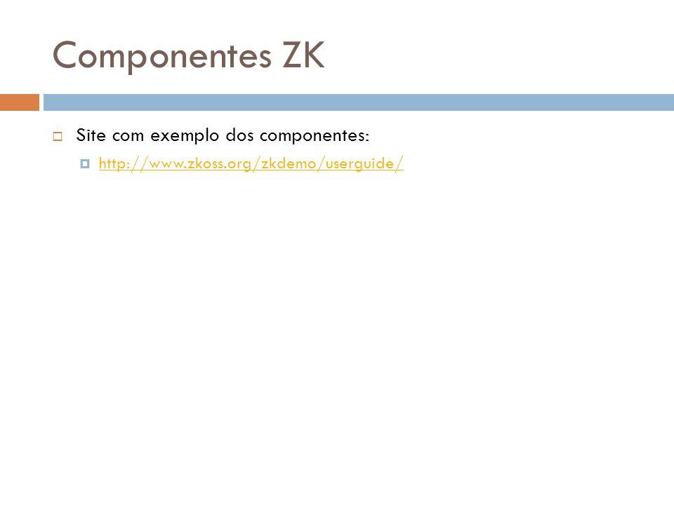 Componentes ZK Site com exemplo dos componentes: