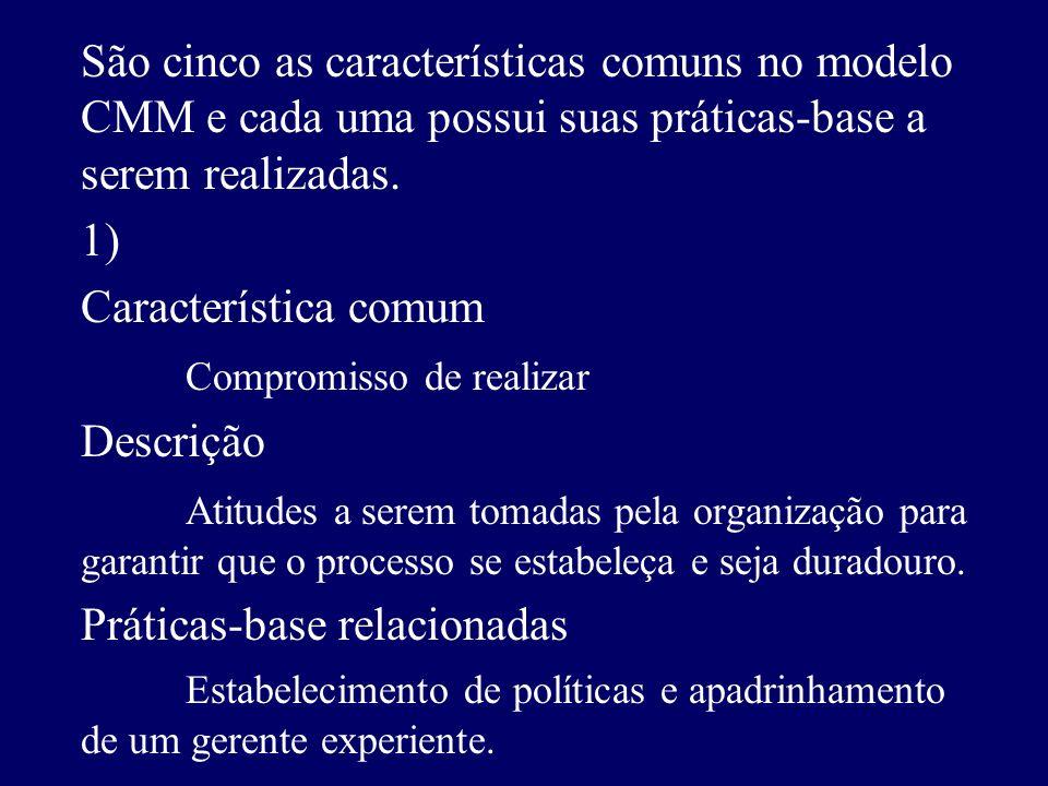 São cinco as características comuns no modelo CMM e cada uma possui suas práticas-base a serem realizadas.