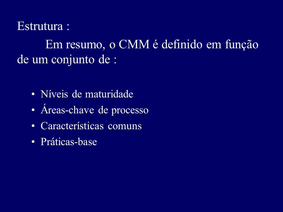 Em resumo, o CMM é definido em função de um conjunto de :
