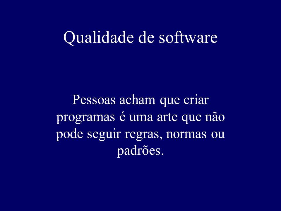 Qualidade de softwarePessoas acham que criar programas é uma arte que não pode seguir regras, normas ou padrões.