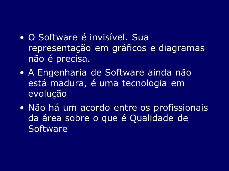 O Software é invisível. Sua representação em gráficos e diagramas não é precisa.