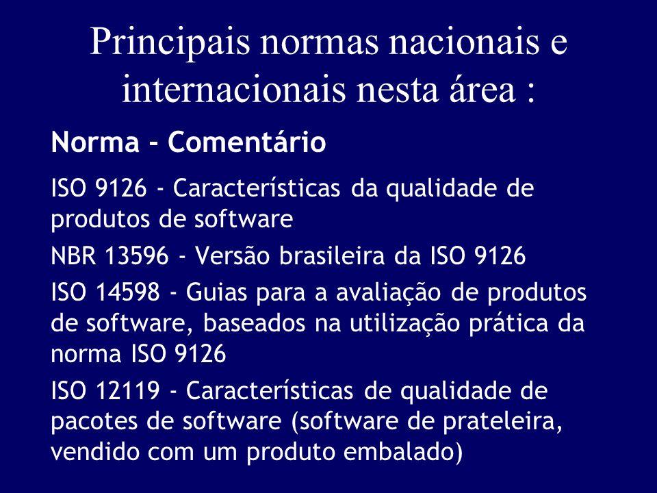 Principais normas nacionais e internacionais nesta área :