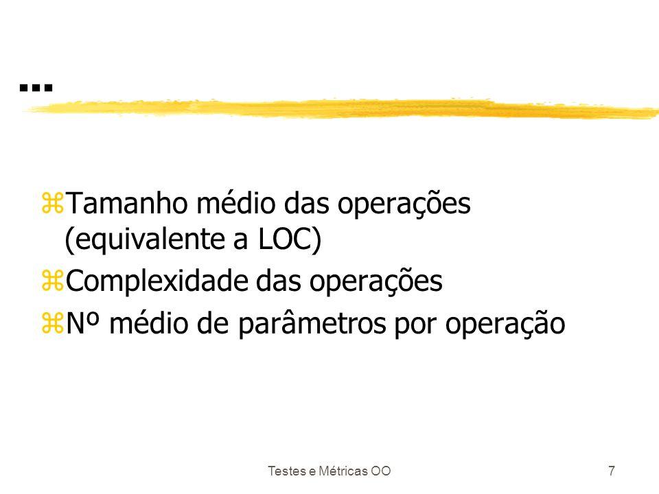 ... Tamanho médio das operações (equivalente a LOC)