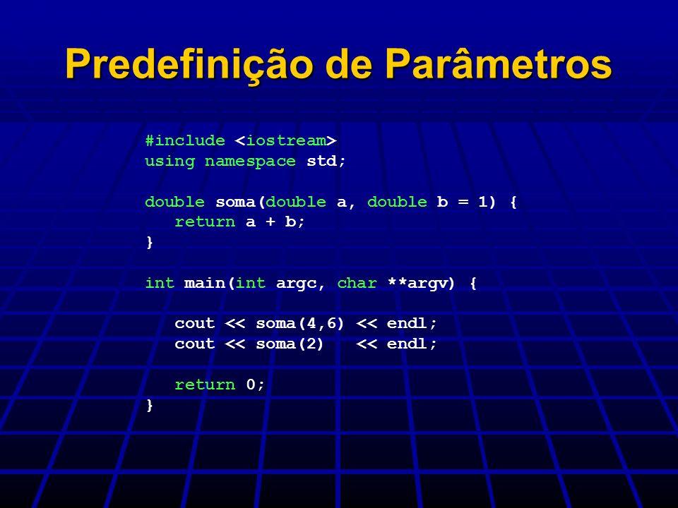 Predefinição de Parâmetros
