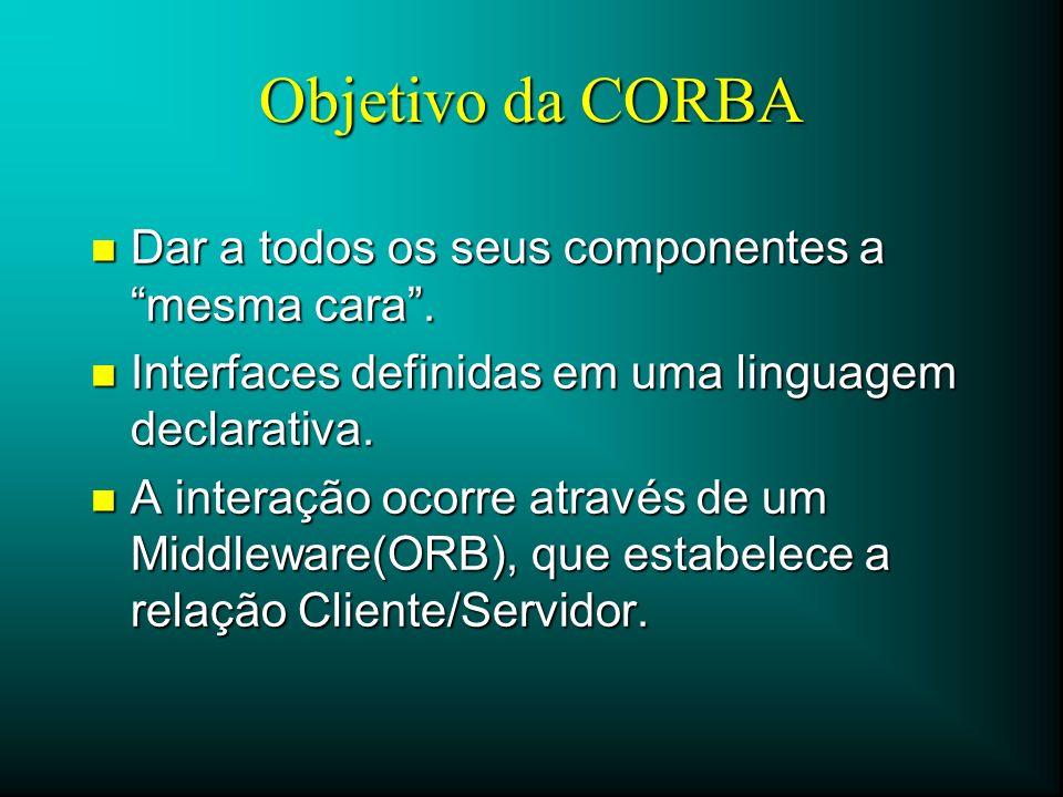 Objetivo da CORBA Dar a todos os seus componentes a mesma cara .