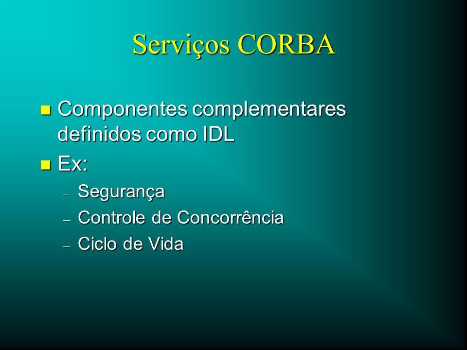 Serviços CORBA Componentes complementares definidos como IDL Ex: