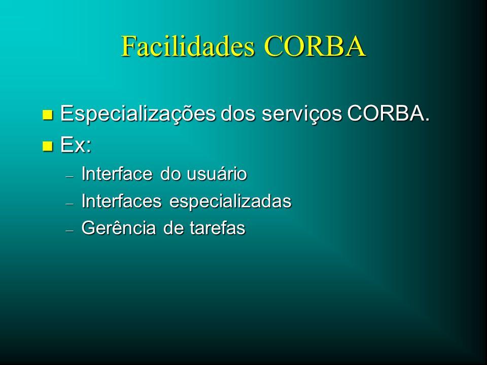 Facilidades CORBA Especializações dos serviços CORBA. Ex:
