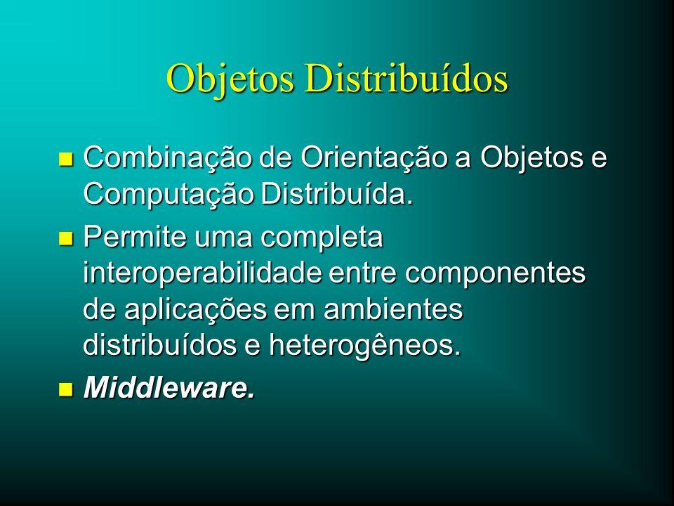 Objetos Distribuídos Combinação de Orientação a Objetos e Computação Distribuída.