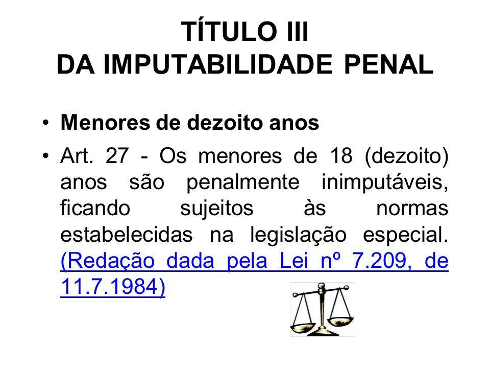 TÍTULO III DA IMPUTABILIDADE PENAL