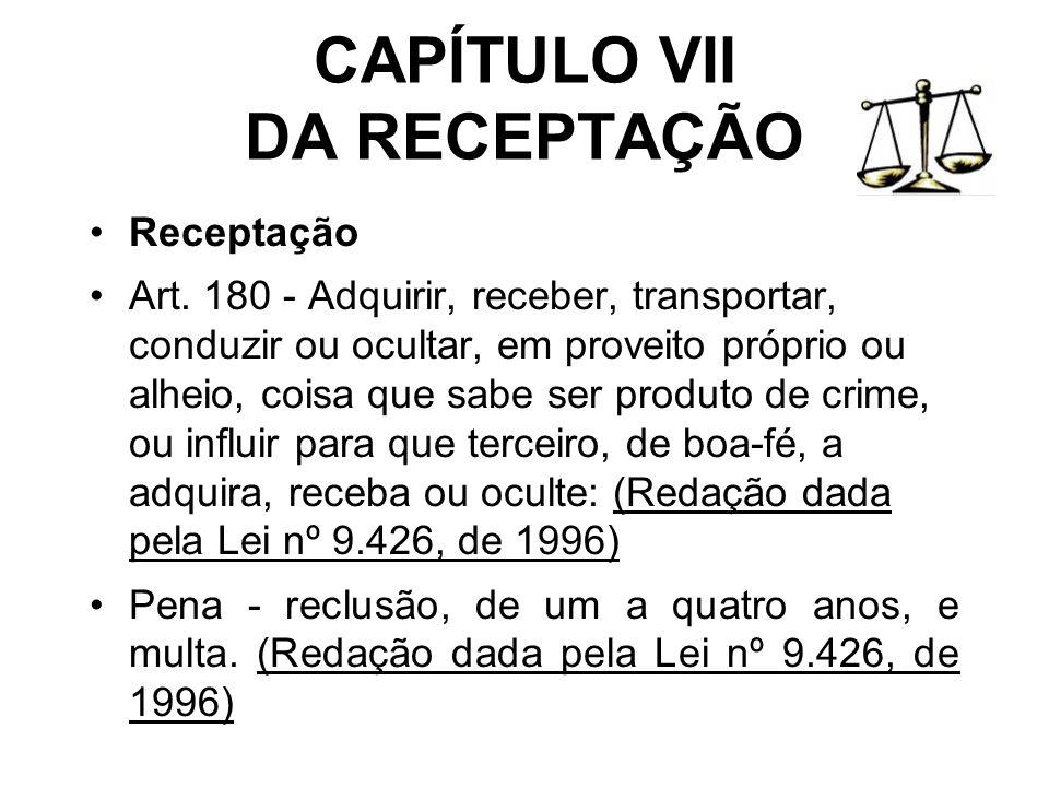 CAPÍTULO VII DA RECEPTAÇÃO
