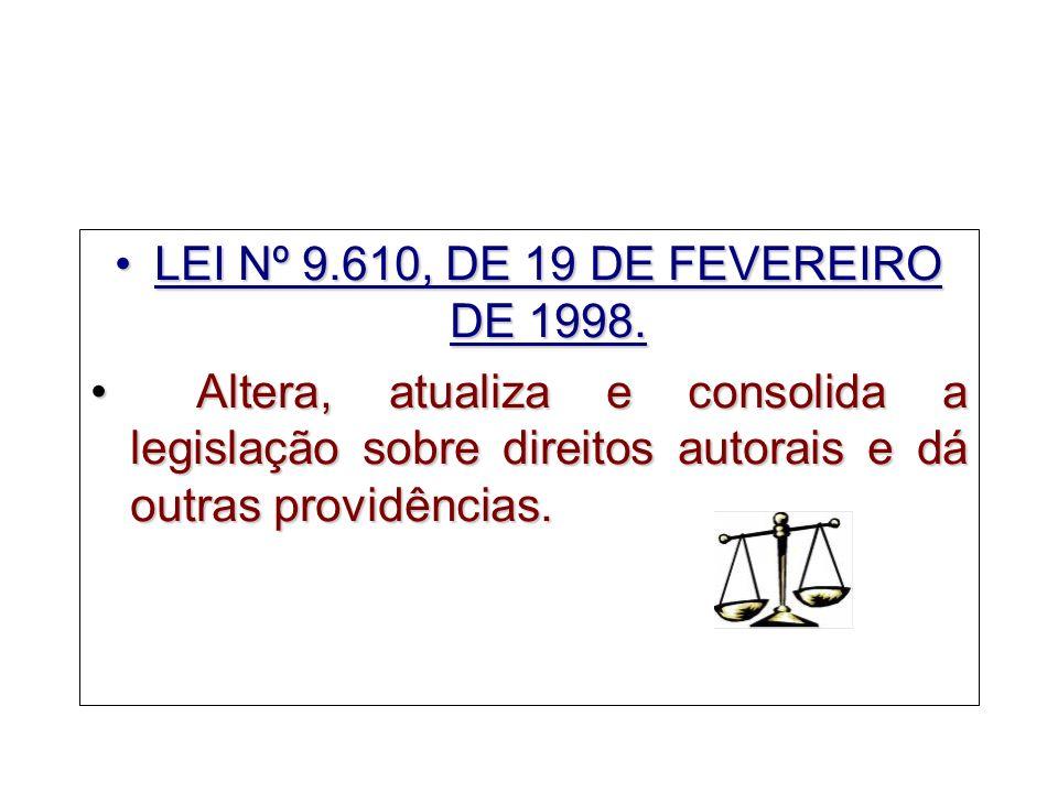 LEI Nº 9.610, DE 19 DE FEVEREIRO DE 1998.
