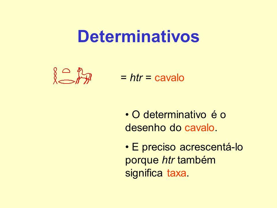 Determinativos = htr = cavalo O determinativo é o desenho do cavalo.