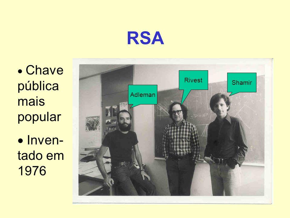 RSA  Inven-tado em 1976  Chave públicamais popular Rivest Shamir