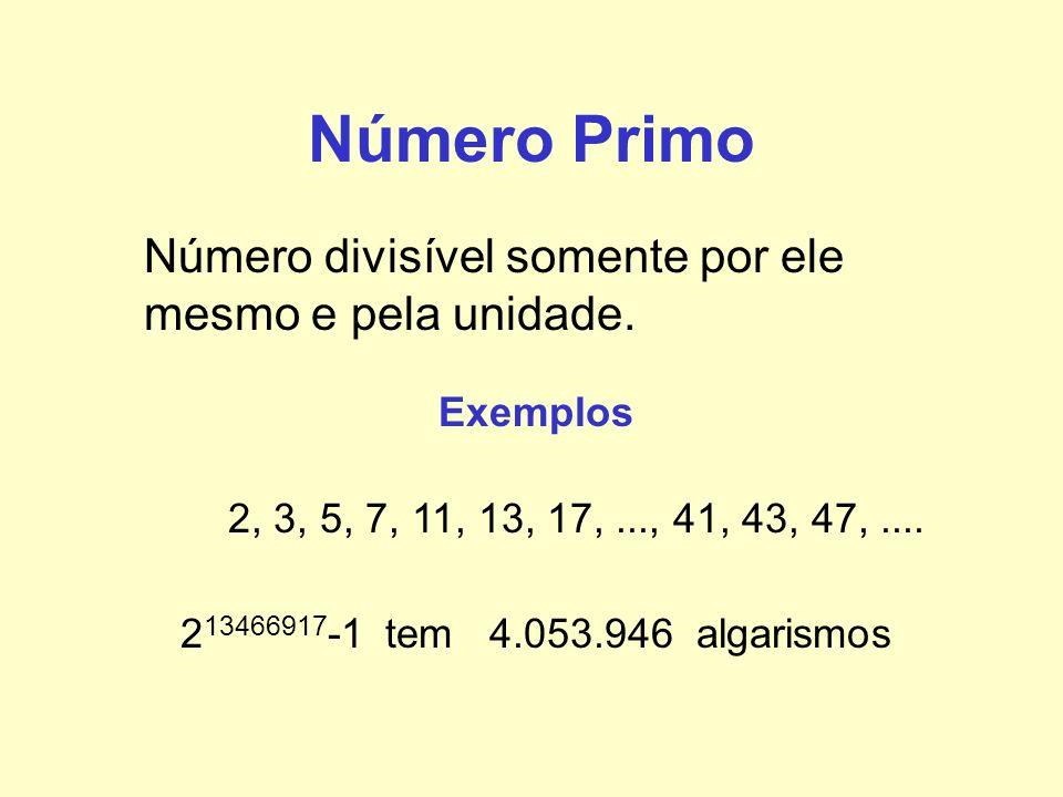Número Primo Número divisível somente por ele mesmo e pela unidade.