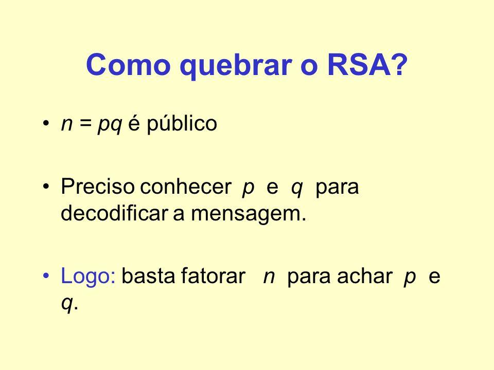 Como quebrar o RSA n = pq é público