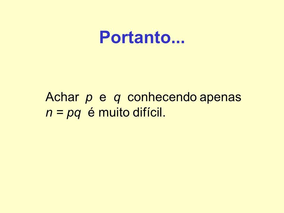 Portanto... Achar p e q conhecendo apenas n = pq é muito difícil.