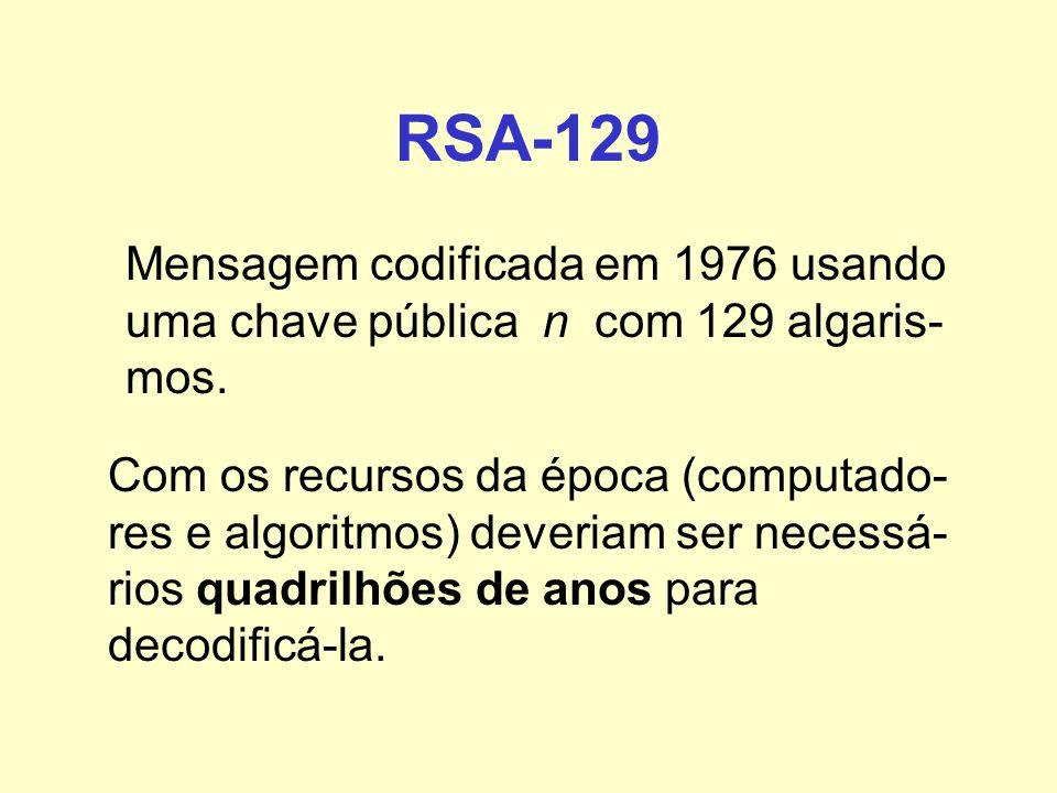 RSA-129 Mensagem codificada em 1976 usando uma chave pública n com 129 algaris-mos.