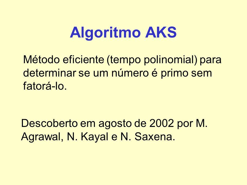 Algoritmo AKS Método eficiente (tempo polinomial) para determinar se um número é primo sem fatorá-lo.