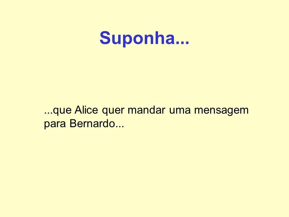 Suponha... ...que Alice quer mandar uma mensagem para Bernardo...