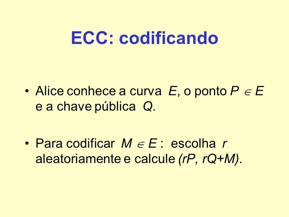 ECC: codificando Alice conhece a curva E, o ponto P  E e a chave pública Q.