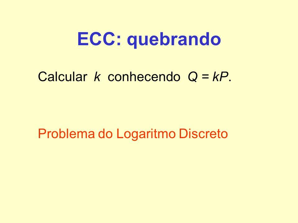 ECC: quebrando Calcular k conhecendo Q = kP.