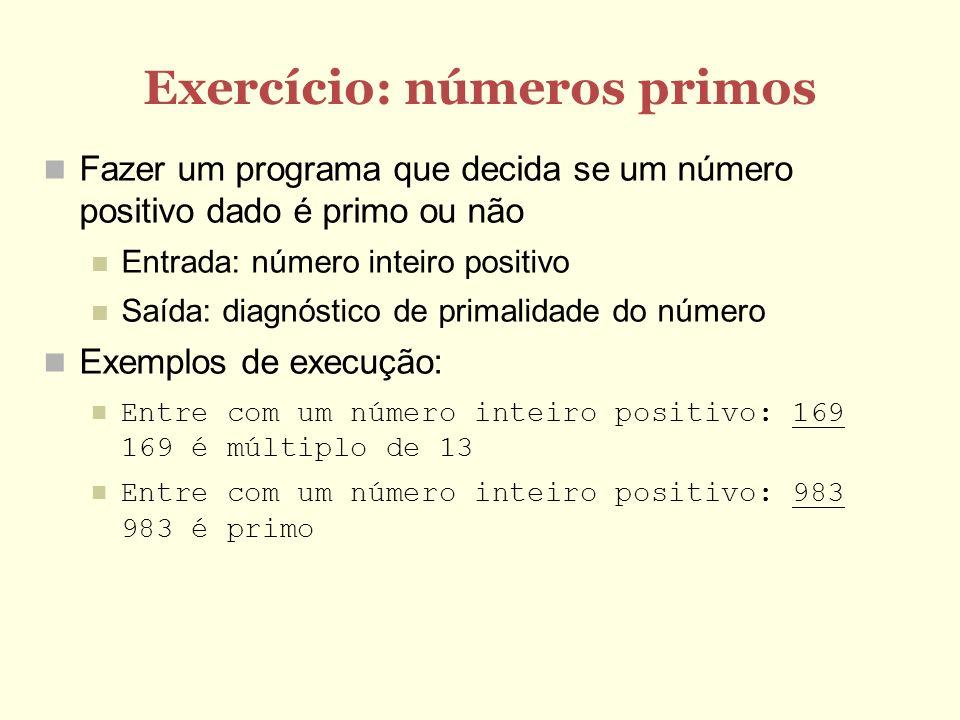 Exercício: números primos
