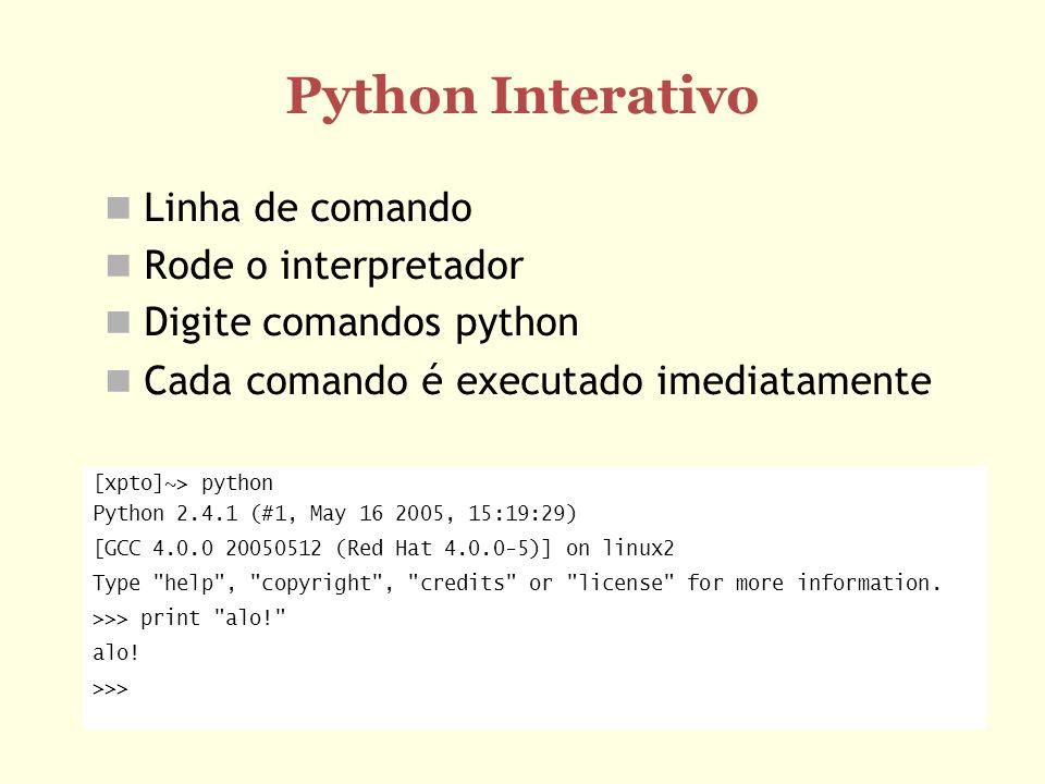 Python Interativo Linha de comando Rode o interpretador