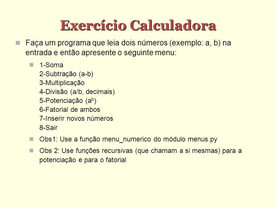 Exercício Calculadora