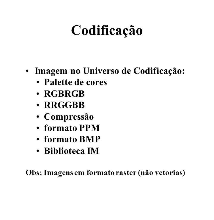 Codificação Imagem no Universo de Codificação: Palette de cores RGBRGB