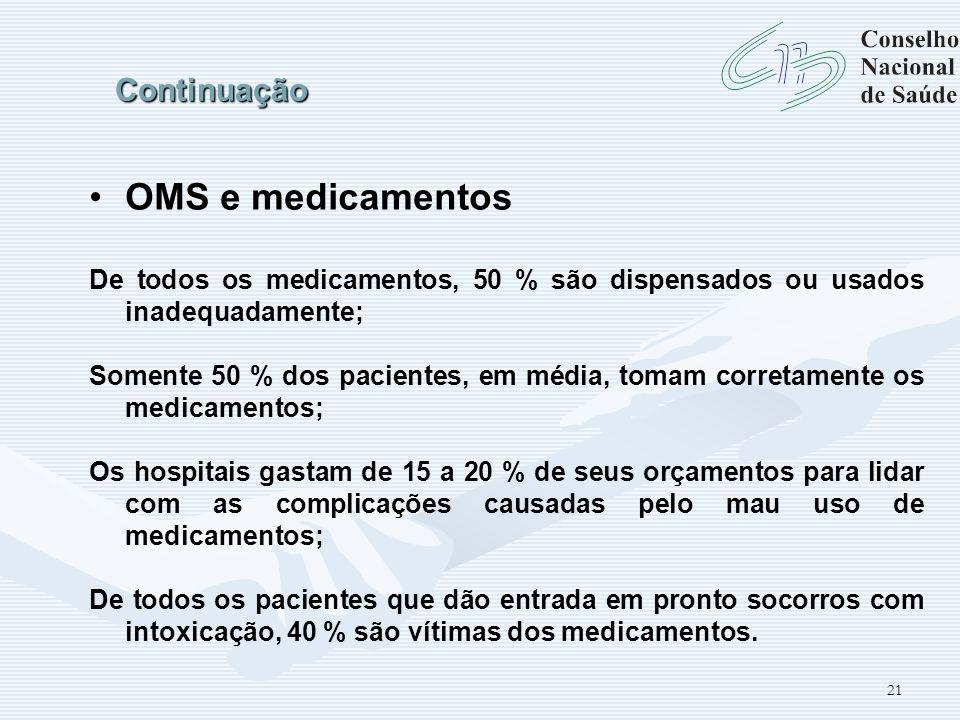 OMS e medicamentos Continuação