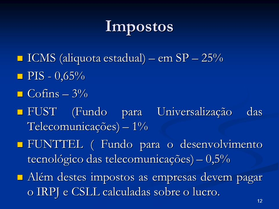 Impostos ICMS (aliquota estadual) – em SP – 25% PIS - 0,65%