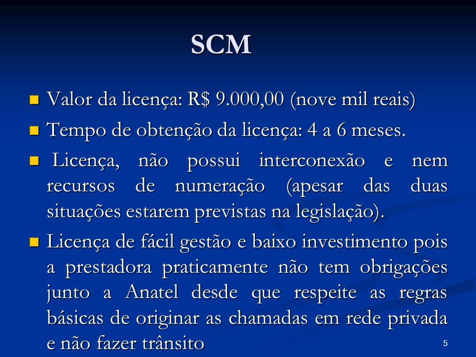 SCM Valor da licença: R$ 9.000,00 (nove mil reais)