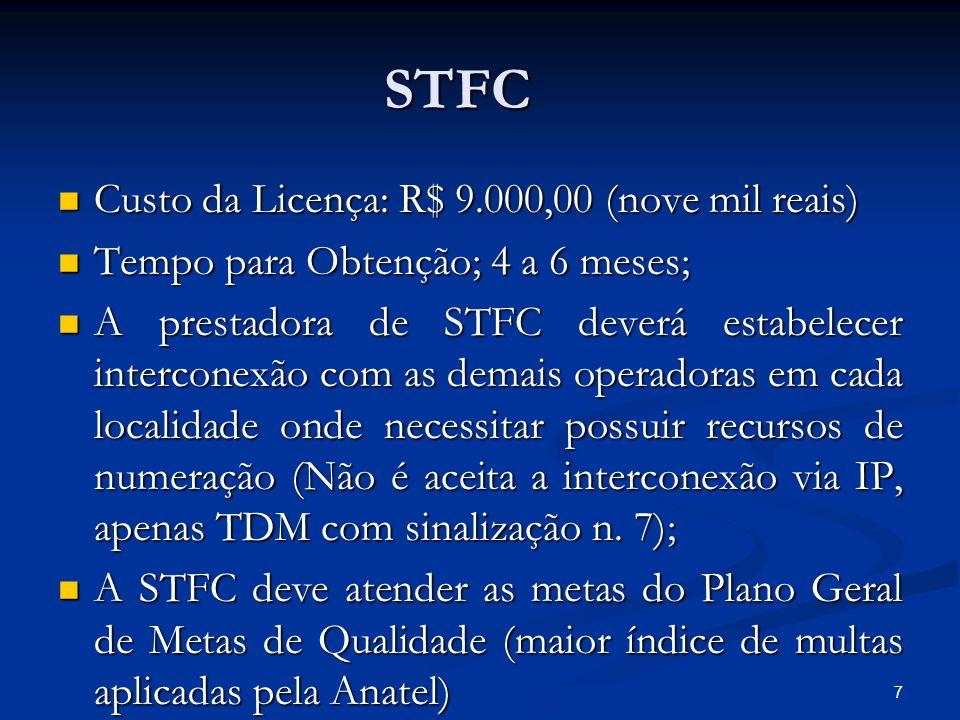 STFC Custo da Licença: R$ 9.000,00 (nove mil reais)