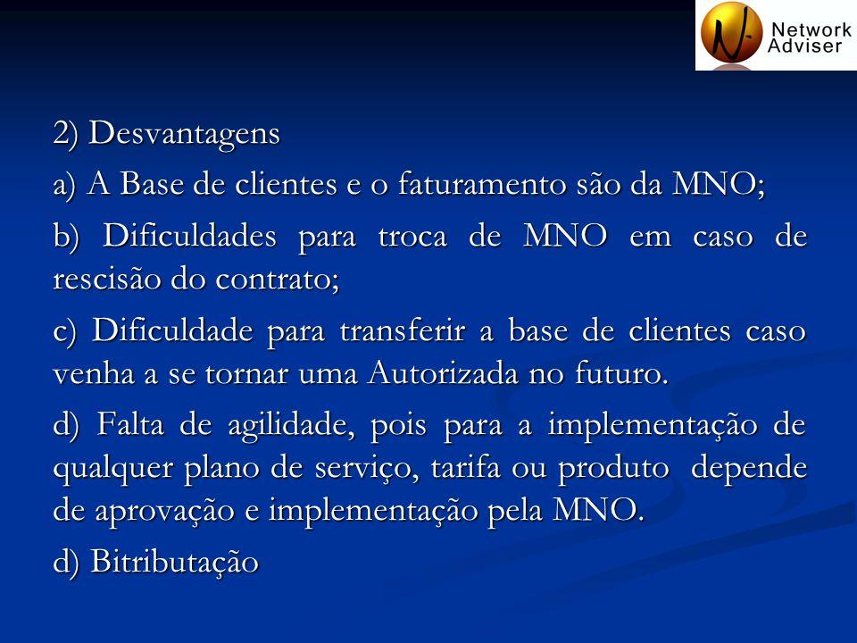 2) Desvantagensa) A Base de clientes e o faturamento são da MNO; b) Dificuldades para troca de MNO em caso de rescisão do contrato;