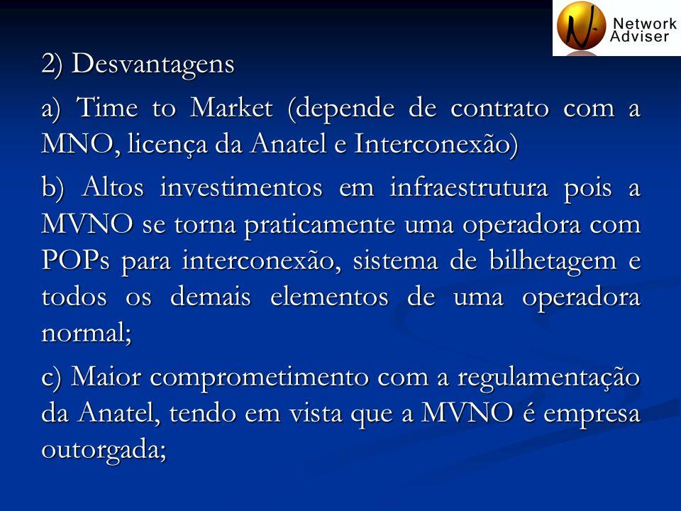 2) Desvantagens a) Time to Market (depende de contrato com a MNO, licença da Anatel e Interconexão)